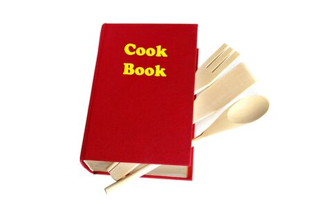 Red cook book isolated on white Stock Photo