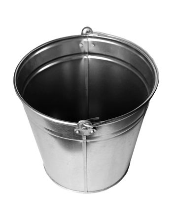 water stained: Zinc bucket isolated on white Stock Photo