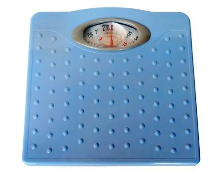 kilos: Bathroom scales isolated on white