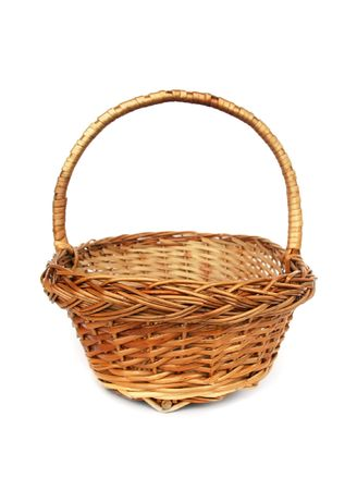 spliced: Brown willow basket isolated on white Stock Photo
