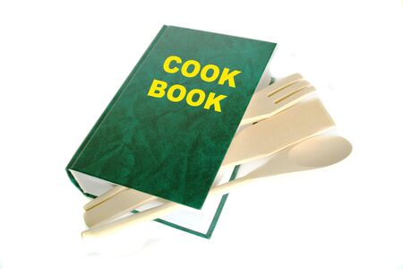 Green cook book isolated on white photo
