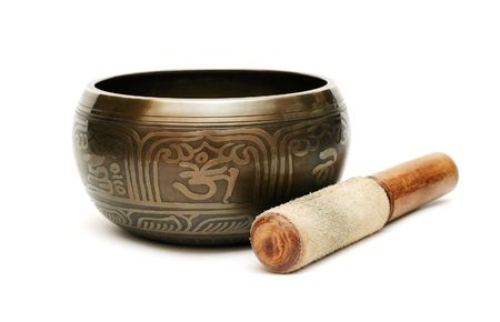 Tibetian singing bowl isolated on white Stock Photo - 6786055