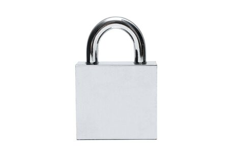 Silver padlock isolated on white photo