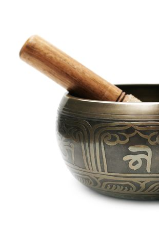 sonorous: Tibetan singing bowl isolated on white