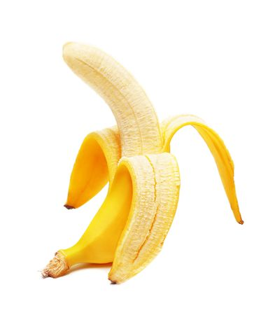 banana skin: Open banana isolated