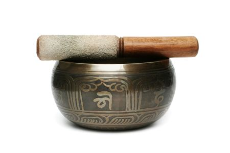 Tibetan singing bowl isolated on white Stock Photo - 6788325