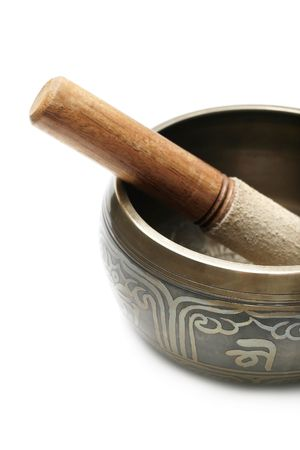 Tibetan singing bowl isolated on white Stock Photo - 6788223