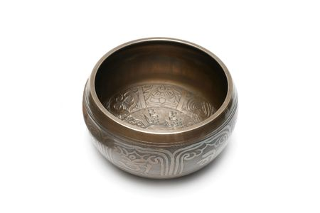 Tibetan singing bowl isolated on white Stock Photo - 6788535