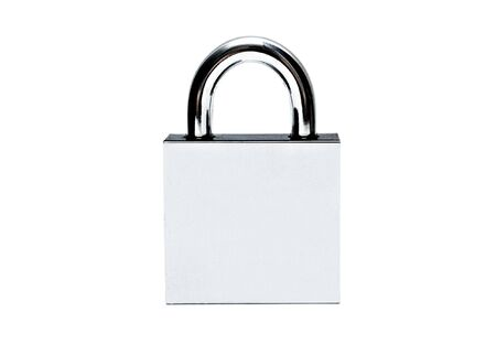 Silver padlock isolated on white Stock Photo - 6788590
