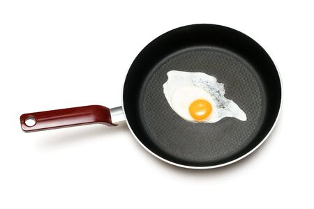 Fried egg isolated on white photo