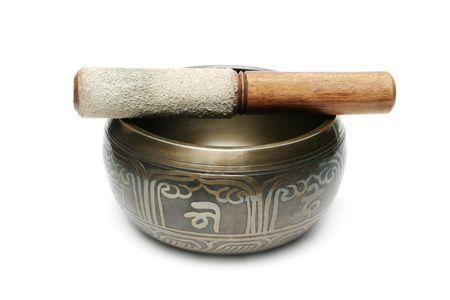Tibetan singing bowl isolated on white Stock Photo - 6852474