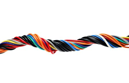 Multicolored computer cable isolated on white photo
