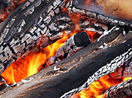 Camp fire close up outdoors, high resolutiob photo