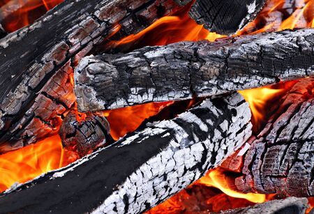 Camp fire close up, outdoors, high resolution photo