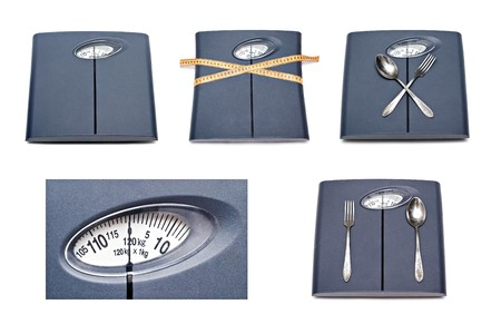 Bathroom scales isolated on white background photo