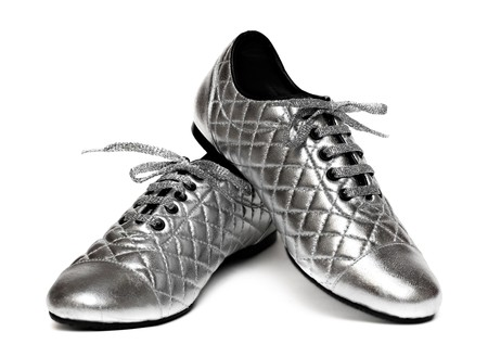 Silver sport shoes isolated on white background Stock Photo - 7402450