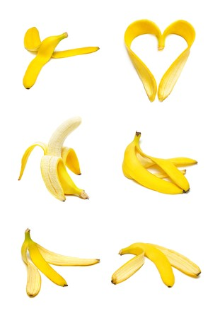 banana skin: Ripe and tasty banana set isolated on white Stock Photo