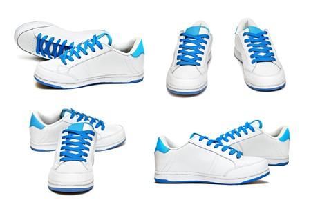 Buty sportowe ustawić odizolowane na białym tle