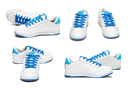 gym shoes: Sport shoes set isolated on white background Stock Photo