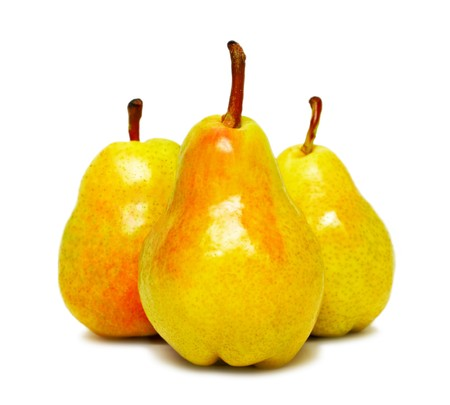 Three ripe pears isolated on white background Stock Photo - 7402389