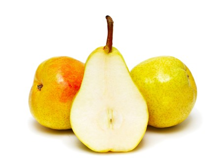 Three ripe pears isolated on white background Stock Photo - 7402398