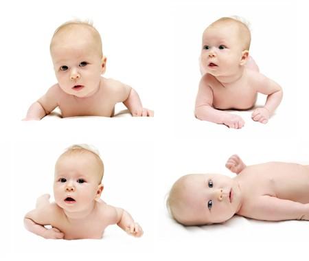 Newborn babys is crawling set isolated on white photo