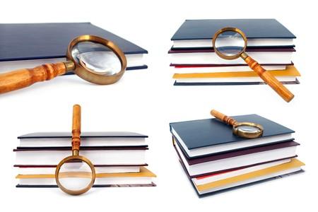 magnifying glass set isolated on white background photo