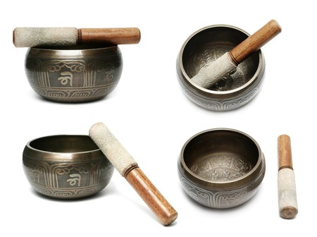 Tibetan singing bowl set isolated on white Stock Photo - 7584942