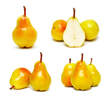 ripe pears set isolated on white background photo