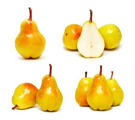 ripe pears set isolated on white background Stock Photo - 7584824