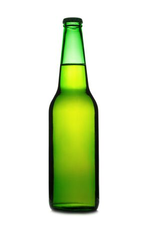 whote: Green beer bottle isolated on a whote background