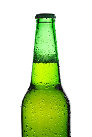 Green beer bottle isolated on white photo