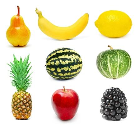 Ripe fruits set isolated on white background Stock Photo - 9395893