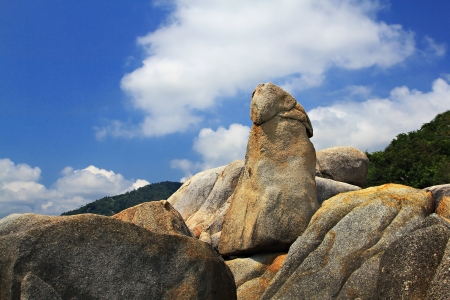 pene: Bizarre rock Grandfather and Grandmother (Hin Ta Hin Yai) on Koh Samui island, very famous landmark