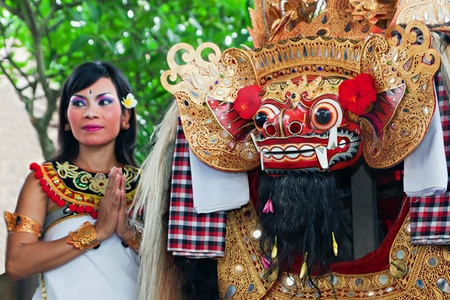 BALI - APRIL 1: Barong dance is performed by sekehe Gong Panca Artha at Ubud Place in Ubud, Bali on April 1, 2011 in Bali, Indonesia. Editorial
