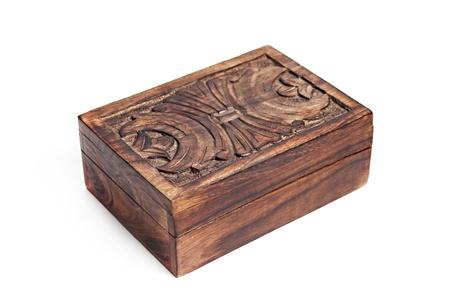 Vintage wooden box isolated on white background photo