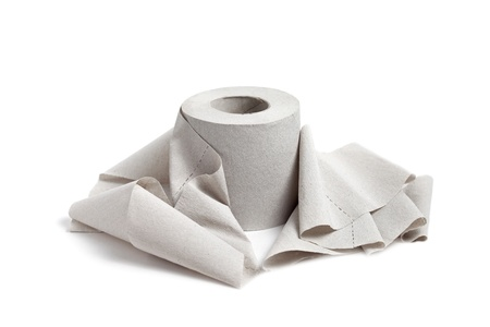 Single toilet paper isolated on a white background photo