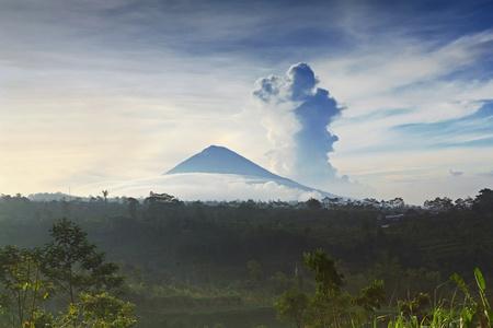 Landscape of Agung volcano on Bali island, Indonesia photo