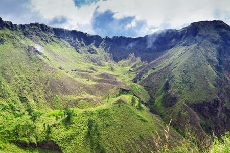 Inside Batur volcano on Bali island, Indonesia Stock Photo