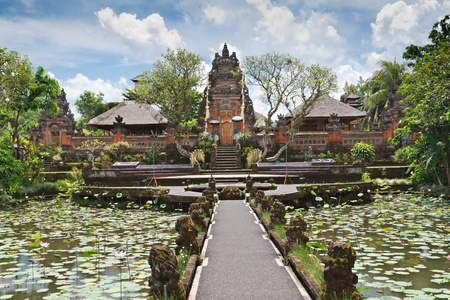 Pura Saraswati temple at the lovey village of Ubud, Bali, Indonesia