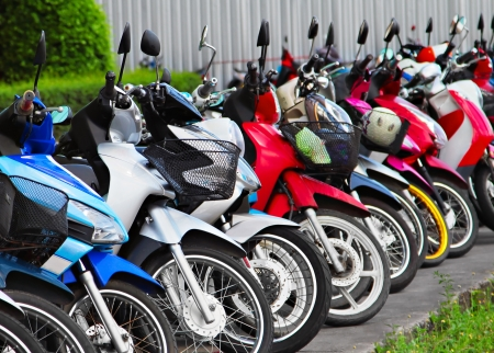 Many motobikes on the parking, Thailand photo