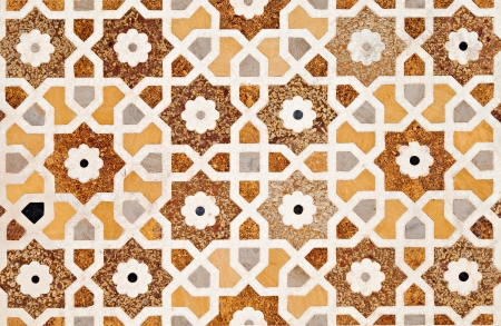 mughal architecture: Detail of inlay and carvings decorating the Taj Mahal, Agra, India Stock Photo