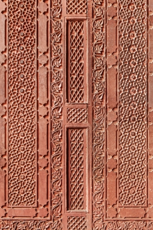mughal: Geometrical pattern on Red Ford, Agra, India