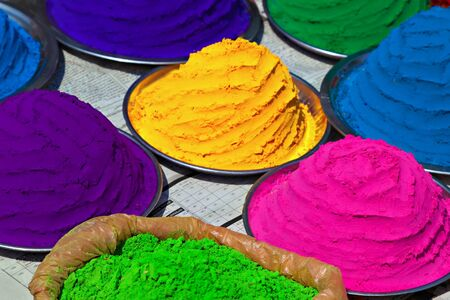 colored powder: Indian colorful powder, market, India