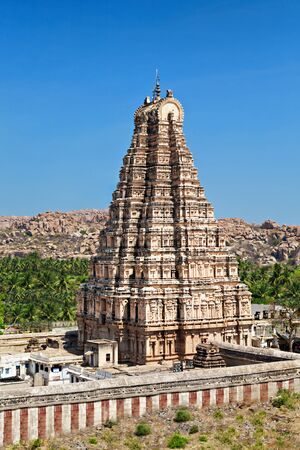 temple tower: Virupaksha Temple, Hampi, India