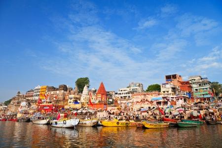 uttar: Ghats on Ganga river, Varanasi, Uttar Pradesh, India