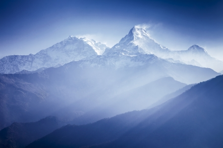 Annapurna mountains in sunrise light photo