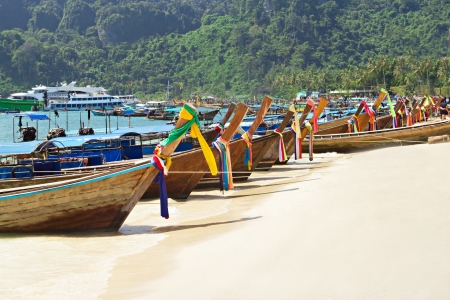 longtail: Long tail boats at the beach, Thailand Stock Photo