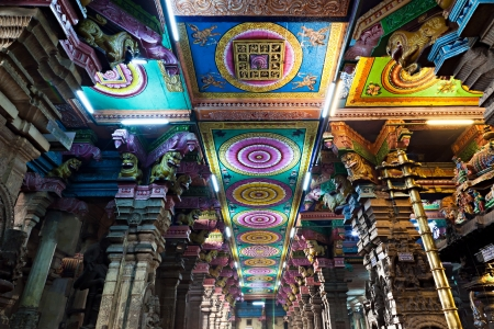 Inside of Meenakshi hindu temple in Madurai, Tamil Nadu, South India Stock Photo - 17839324