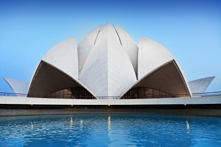 house of worship: NEW DELHI, INDIA - APRIL 08: Lotus Temple on April 08, 2012, New Delhi, India.The Bahai House of Worship in New Delhi, popularly known as the Lotus Temple due to its flowerlike shape.